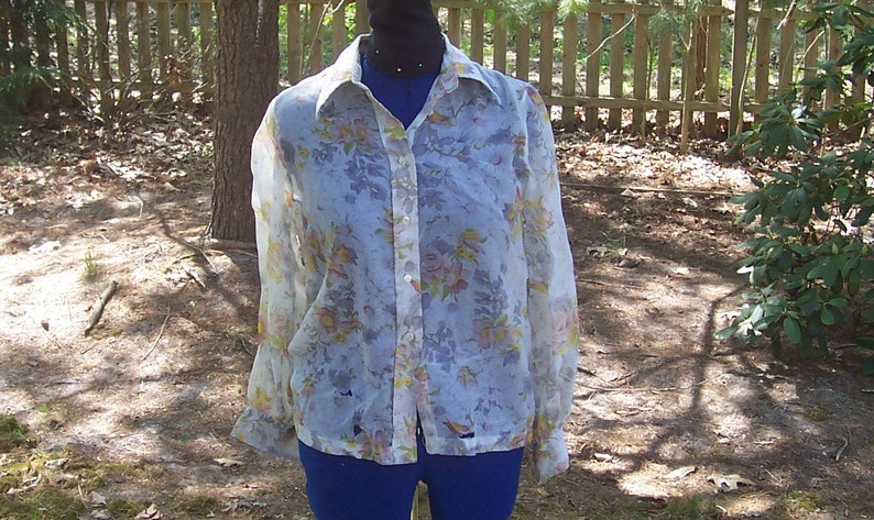 70s 1970s 60s 1960s Vintage Sheer Floral Button Up Blouse Butterfly Collar Long Sleeve Nylon Shirt Pink Yellow White Floral shirt