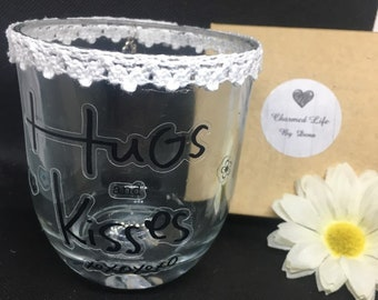 Hugs and Kisses Glass Candle Holder