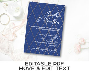 Royal Blue Wedding Invitation Template Navy And Gold Wedding Etsy
