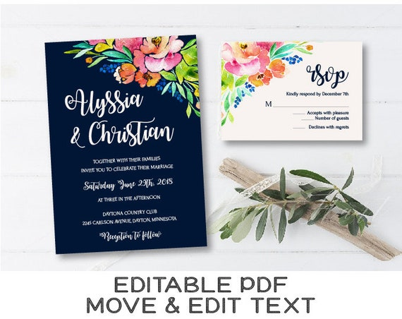 Navy Blue Wedding Floral Invitation Template Watercolor Etsy
