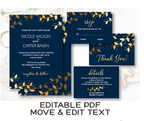 Royal Blue Wedding Invitation Template Navy And Gold Wedding Etsy