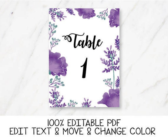 ultra violet wedding table number template purple table number etsy