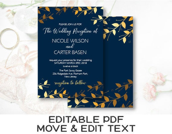 Royal Blue And Gold Wedding Invitations: Navy And Gold Reception Invitation Royal Blue Wedding