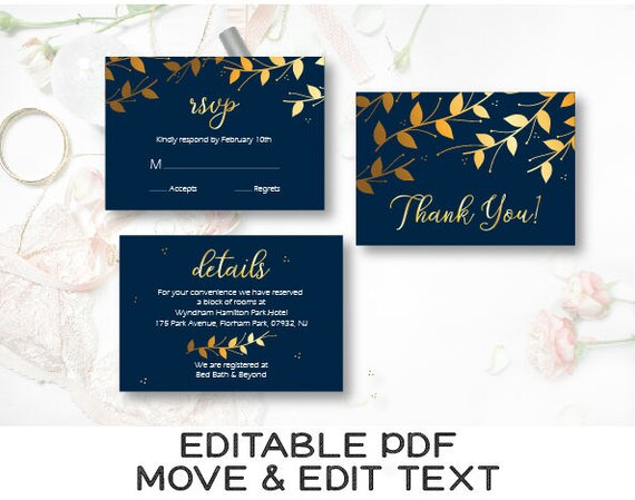 Navy Blue Gold Wedding Invitation Template Navy We Do Wedding Etsy
