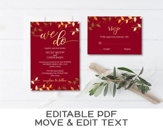 burgundy wedding invitation template gold wedding invite etsy