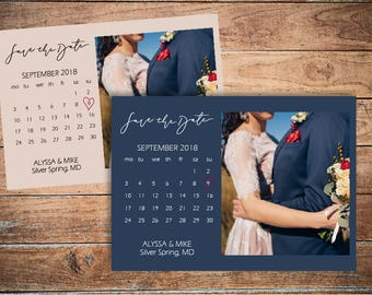 Save the date calendar Wedding save the date card template Calendar save-the-date photo card Photo save dates invite Save the dates DIGITAL