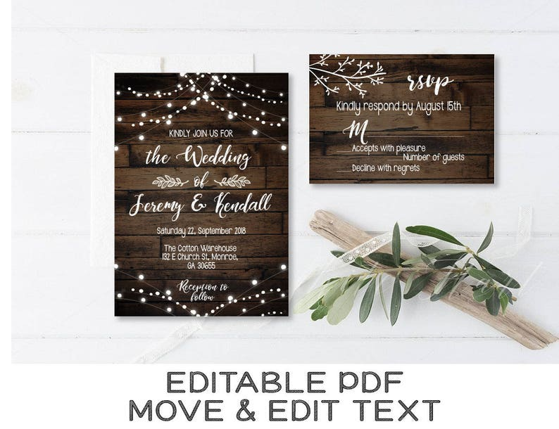 image relating to Etsy Wedding Invitations Printable titled Rustic marriage ceremony invitation editable Traditional wedding day invite printable preset Region wedding day rsvp card Rustic invitation rsvp template - Electronic