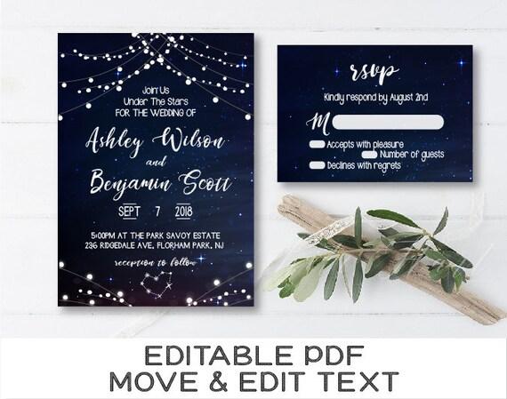 Starry night printable invitation template Constellation ...