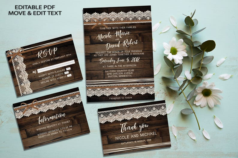 Rustic Wedding Invite Template Vintage Set Country Digital Invitation Boho Printable