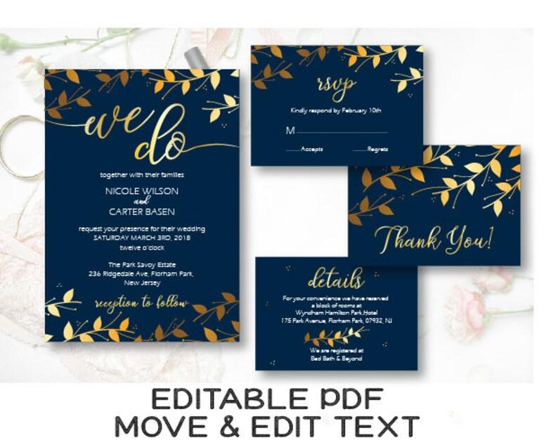 Navy Blue And Gold Wedding Invitations: Navy Blue Gold Wedding Invitation Template Navy We Do