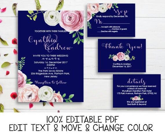 navy blue pink wedding invitation printable peony wedding etsy