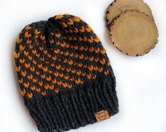 Chunky Knit Fold-Over Brim Hat Women/'s Warm /& Cozy Winter Accessory Handmade Slouchy Beanie Wool Free  PUMPKIN SPICE Vegan Slouch Toque