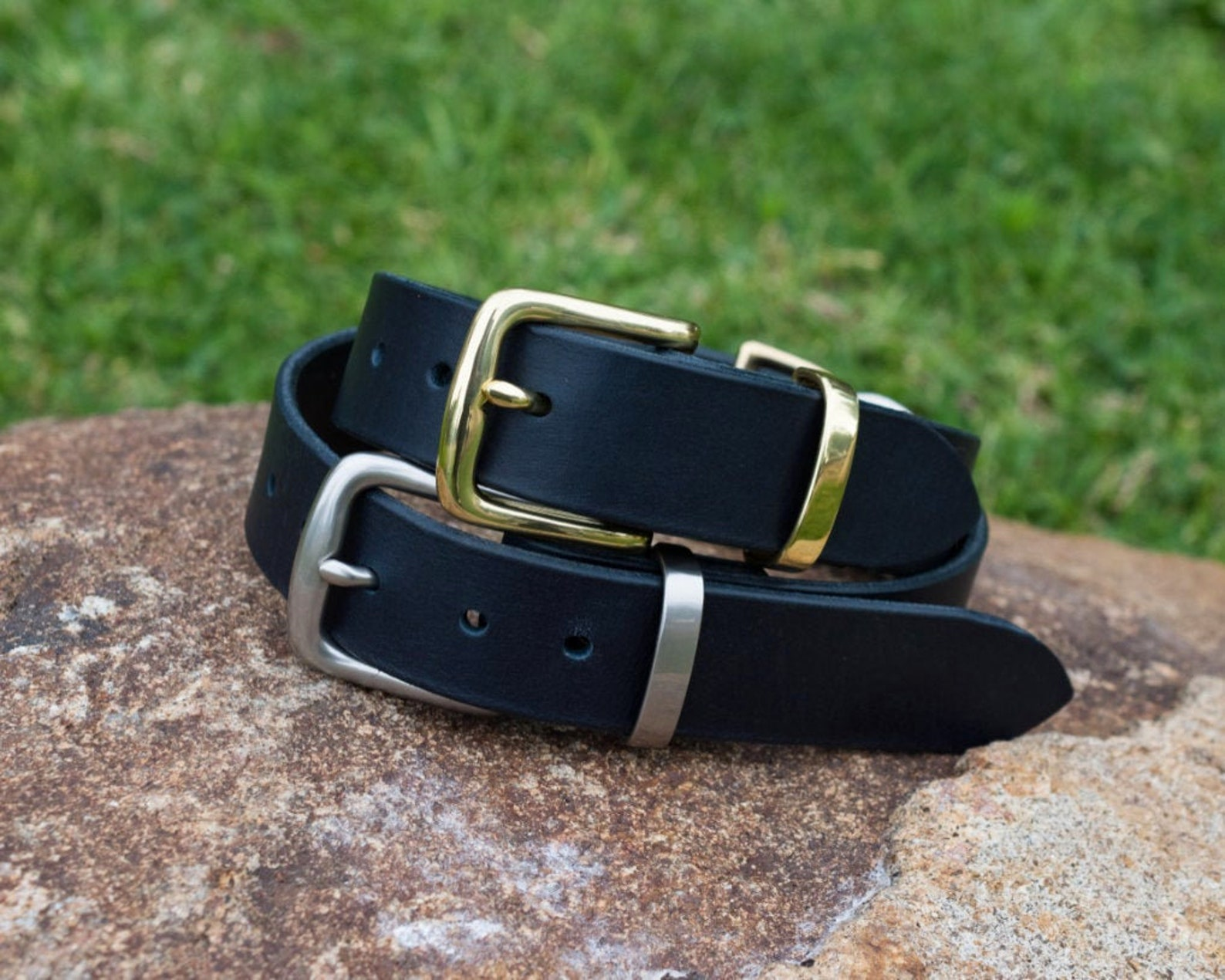 Navy blue leather dog collar