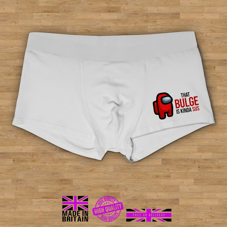 That Bulge Is Kinda Sus Boxer Shorts Valentine Novelty Gift Funny Boxers Valentines Day Boxer Shorts Gift for Him Rude Funny Gift