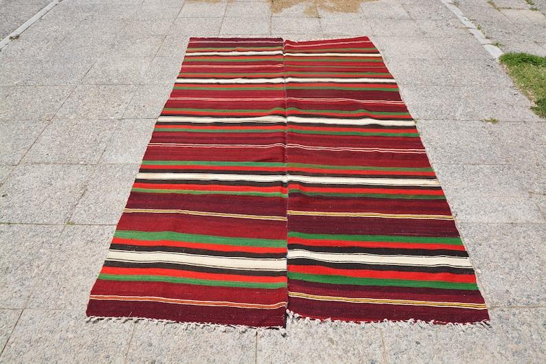 Green Kilim Rug Area Rug Turkish Boho Rug 4.5 x 7.5 Feet LQ342 Turkish Rug Red Turkish Rug Oriental Rug Oriental Persian Rug