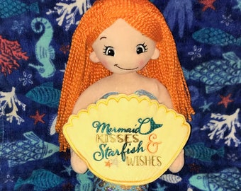 Personalized Mermaid, Birthday Gift, Embroidered Rag Doll, Personalized Rag Doll, Personalized Stuffed Animal
