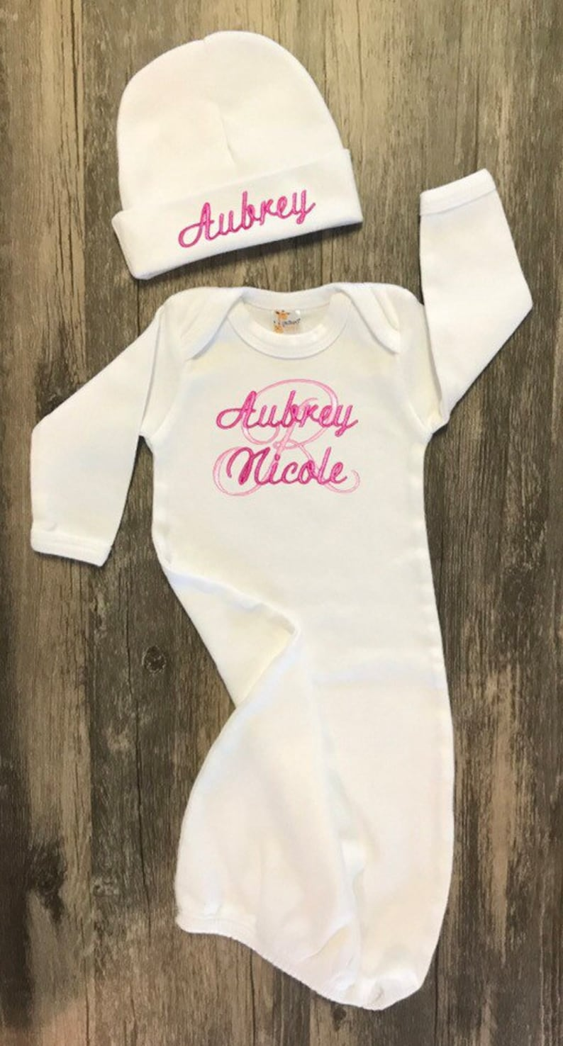 722cd3f05c32 Baby Girl Coming Home Outfit Monogrammed Gown Newborn