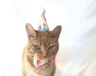 Cat Birthday Outfit Rainbow With Number Gift Hat Party