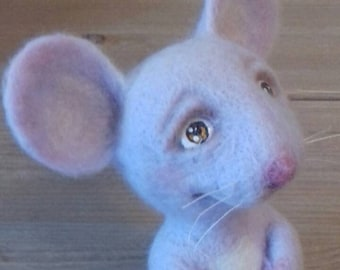 READY TO SHIP! Handmade Cute Mouse Needle Felted Wool Toy ooak