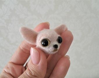 SOLD. Dog Сhihuahua Brooch Handmade Needle Felted Wool Toy ooak