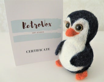 READY TO SHIP! Handmade Penguin Memo Holder Needle Felted Wool Toy ooak