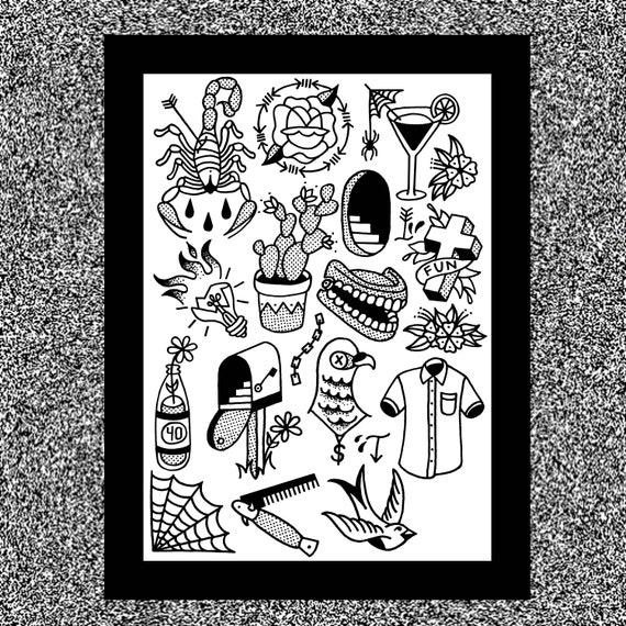 Tattoo Flash Sheet 12x16 Hand Drawn Digitally Etsy