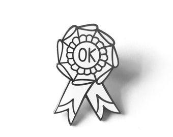 OK Ribbon Enamel Pin