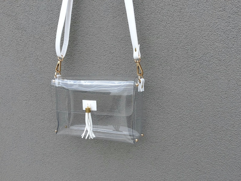 2554546e8002 Clearlee White    Clear Stadium Bag Clear Purse Clear