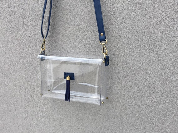c00864c943a7 Clearlee Navy    Clear Bag Purse Crossbody Bag Clear Handbag