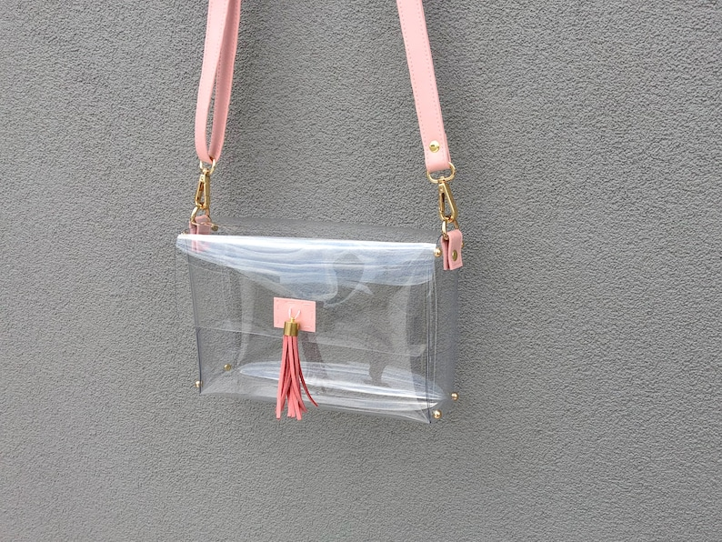 f1947800564f Clearlee Pink    Clear Stadium Bag Clear Purse Clear Crossbody
