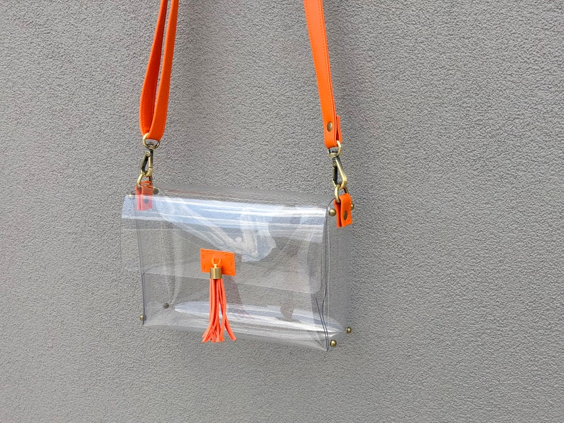 e39fb50516c5 Clearlee Orange // Clear Crossbody Bag Clear Purse Clear Handbag Shoulder  Bag Clear Stadium Bag for Game Day, Ariana Grande, Graduation Gift