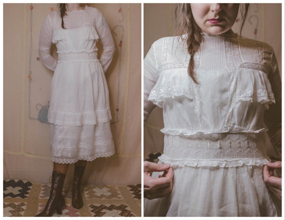 Late 1910's cotton and lace dress