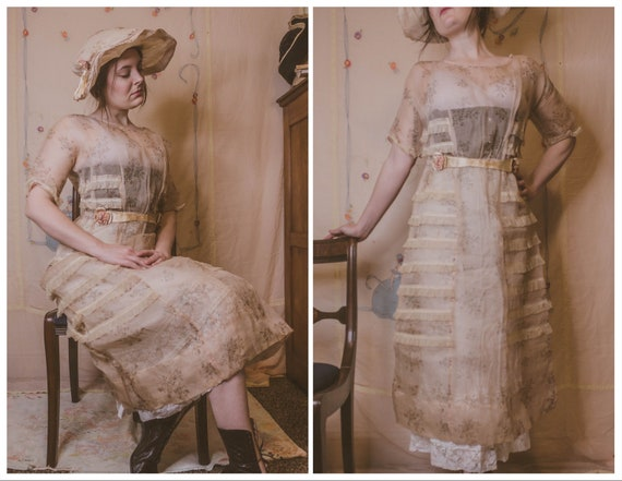 1910's printed organdy dress with matching hat
