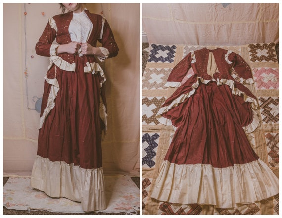 1880's red calico 2-piece embellished dress