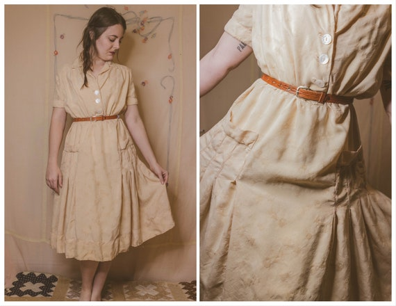 Early 1940's rayon dress with faux pockets