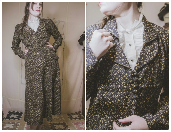 1940's carnation print rayon suit
