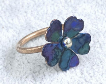 Blue Inked Bronze, Copper, and 925 Silver Flower Ring, Size 6