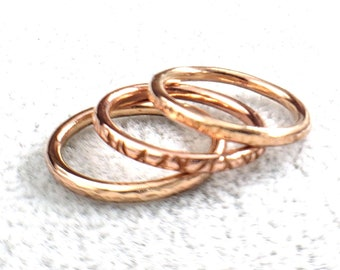 Bronze and Copper Textured Stacker Ring Set, Size 6