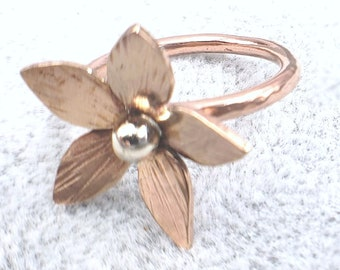 Bronze, Copper, and 925 Silver Flower Ring, size 6.25