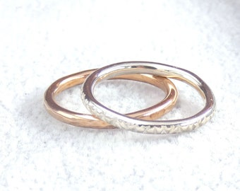925 Silver and Bronze Textured Stacker Ring Set, Size 6.5
