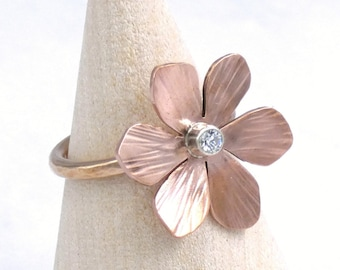 Bronze, Copper, and 925 Silver Flower Ring Inset with White Sapphire, Size 6.5