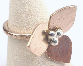 Bronze and 925 Silver Flower Ring, size 7