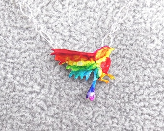Handcrafted Silver Rainbow Inked Bird Necklace