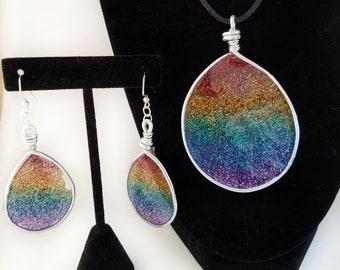 Rainbow Glitter Resin Pendant and Earrings