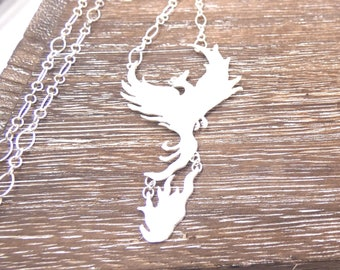 925 Silver Phoenix and Fire Necklace