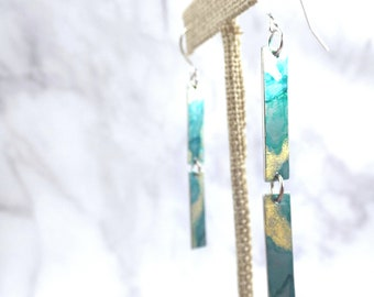 Green and Gold Inked Metal Earrings, Sterling Silver Ear Wire Hooks