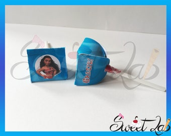 Custom Topper Chups OCEANIA MOANA Birthday Party event year name Disney Lollipop Lollipop Sweet Candy v Maui