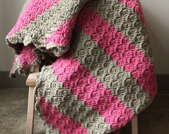 Crochet Blanket - Handmade by blind woman with stripes, multicolor, woven stitch, custom made, knit