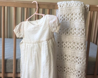 White baby BLESSING or BAPTISM blanket with lace work- beautifully crocheted/knit by blind woman - lacework