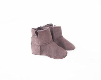 Brown Handmade Sheepskin Baby Boot